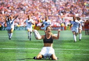 Brandi Chastain rips off her shirt as the USA win the 1999 FIFA World Cup