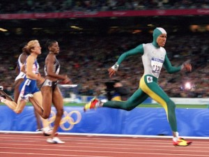Cathy Freeman runs in sporting fokelore at the 2000 Sydney Olympics