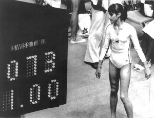 Nadia Comaneci next to the scoreboard that didn't cater for perfect 10s.