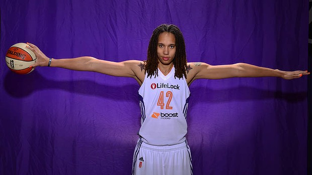 Brittney Griner of the Phoenix Mercury poses for a photo before the press conference and introduction to the team on April 20. Photo: Barry Gossage