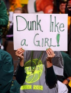 A fan of the Baylor Bears holds up a sign in reference to Brittney Griner of the Baylor Bears against the Notre Dame Fighting Irish during the National Final game of the Women's Basketball Championship last year. Photo: Doug Pensinger