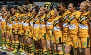 The Jillaroos before the World Cup Grand Final in England