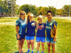 Jillaroos Tarah Westera and Sam Hammond help out the next generation of Women Rugby League stars