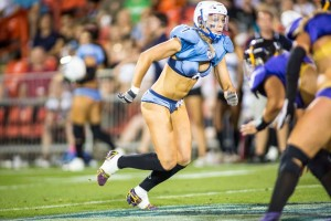 Chloe competing in the Lingerie Football League in the U.S - without it she says she wouldn't be a Wallaroo today.
