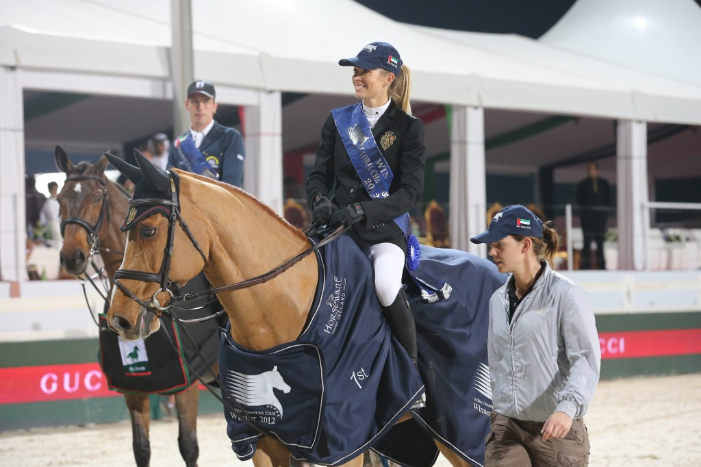 Edwina and Cevo Itôt du Chateau after winning the Global Champions Tour in 2012