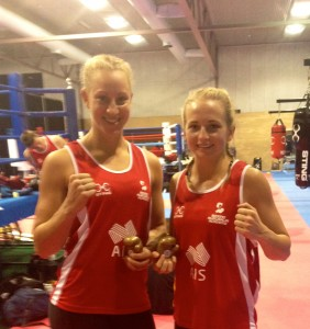 Kristy Harris (right) with fellow Commonwealth Games boxer Kaye Scott at the AIS.