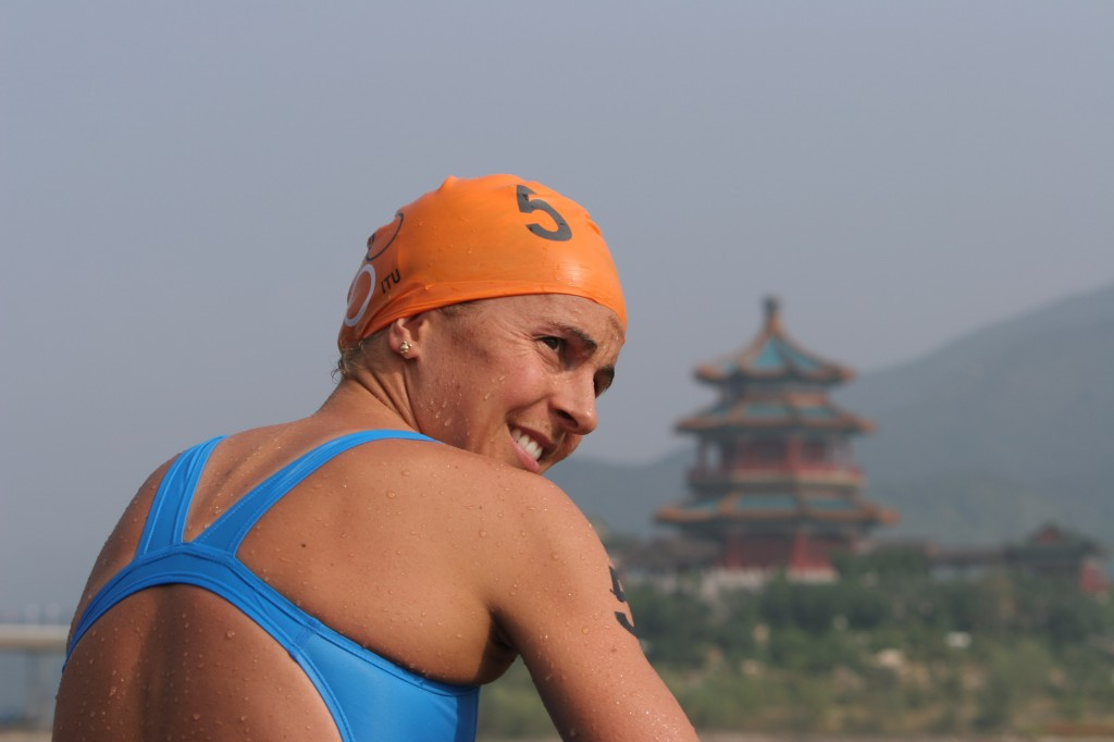 Emma post race at  2007 ITU Beijing. Photo courtesy: ITU | Frank Wechsel