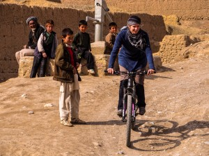 Shannon's rides in Afghanistan have been the catalyst for many conversations with locals. Photo: Deni Bechard.