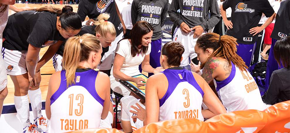 Sandy Brondello coaching the Phoenix Mercury to the WNBA title in her first year in charge, seen here with the team including Penny Taylor, Diana Taurasi and Brittney Griner.