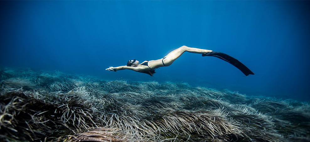 Christina Saenz de Santamaria freediving in Ibiza. Photo: One Ocean One Breath