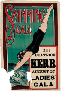 Swimming gala poster featuring Beatrice Kerr, c 1906. Australian National Maritime Museum collection.