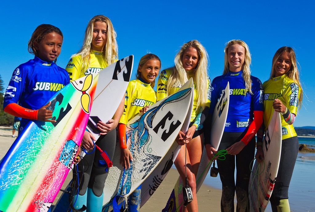 Laura mentoring young surfers at the Subway Summer Surf Camp