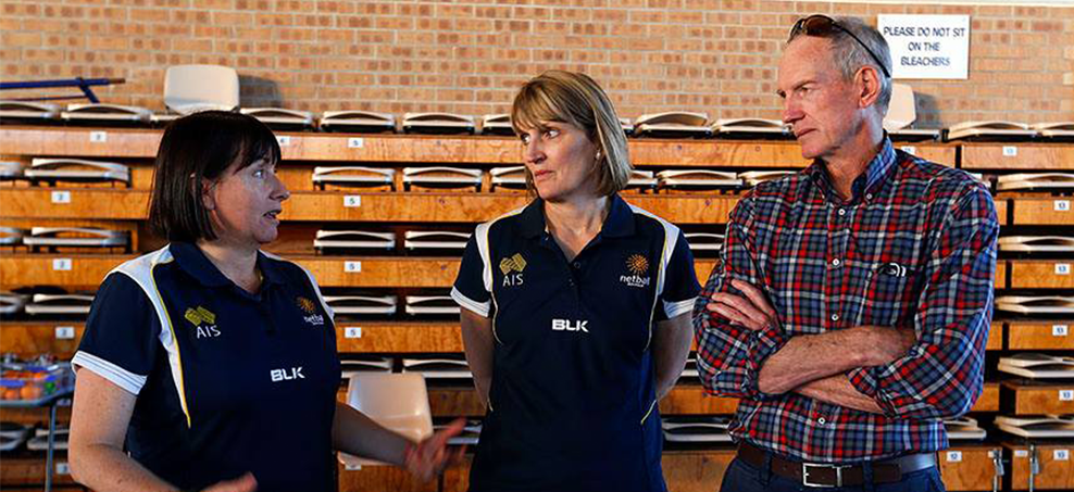 Diamonds' coach Lisa Alexander (left) as NRL Mastercoach Wayne Bennett visits Diamonds camp. Photo: Dave Callow