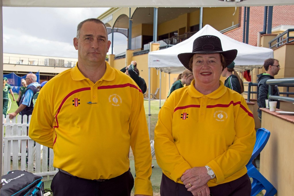 Karen Naylor with fellow Queensland Cricket Umpire David Staines at Allan Border Field.