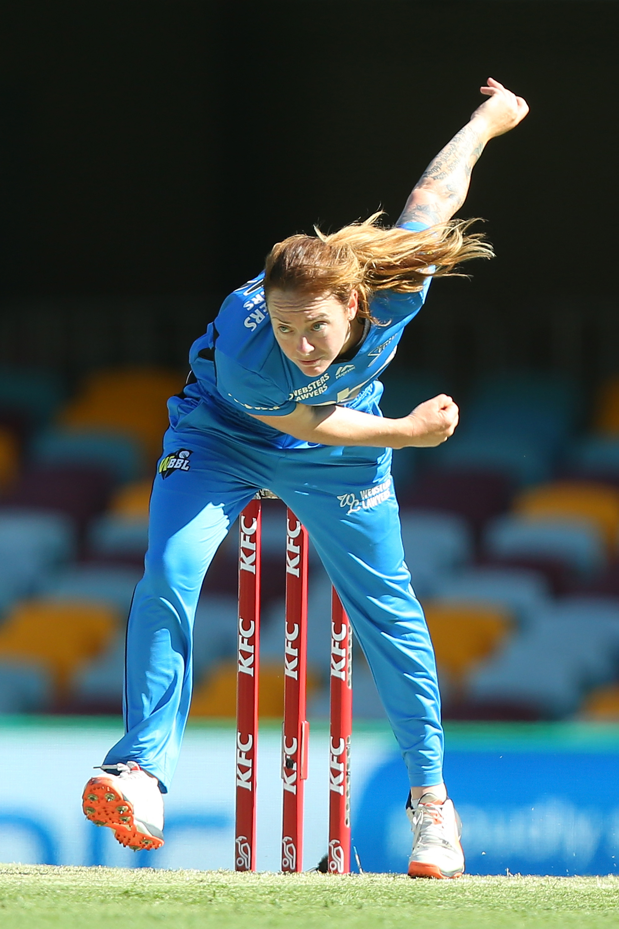 BRISBANE, AUSTRALIA - DECEMBER 19: Sarah Coyte of the Strikers bowls during the Women's Big Bash League match between the Brisbane Heat and the Adelaide Strikers at The Gabba on December 19, 2015 in Brisbane, Australia. (Photo by Chris Hyde - CA/Cricket Australia/Getty Images)