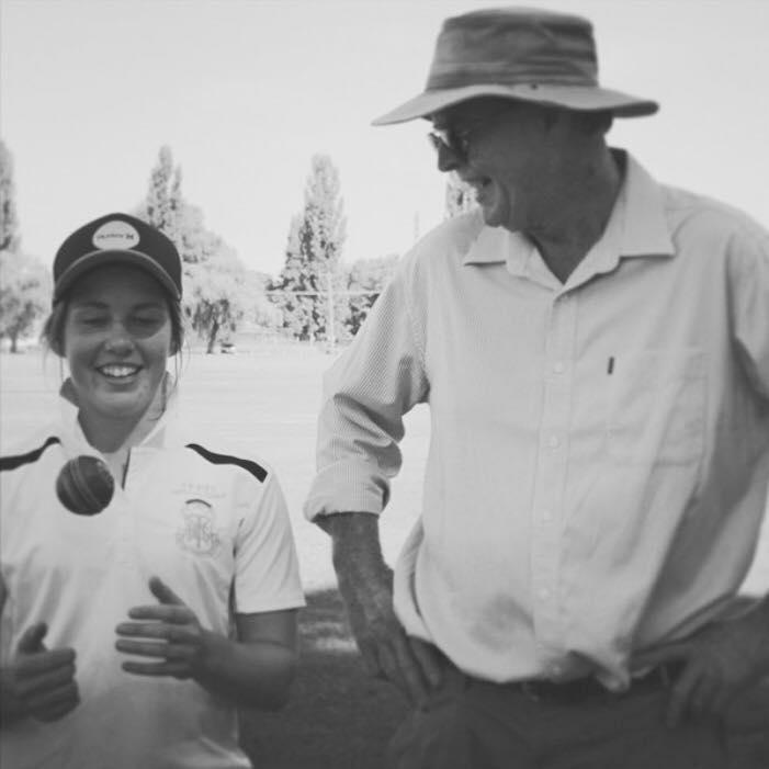 Hicks with coach David Davies
