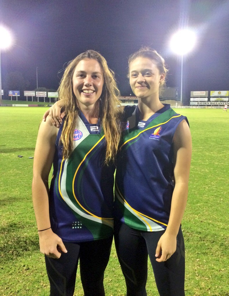 NSW ACT players Jodie Hicks(left) celebrate being named in the All Australian team.