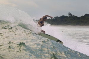 Chelsea Tuach surfing in Panama